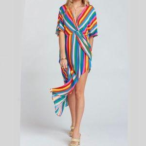 Mumu Get Twisted Maxi Dress Tulum Stripe Rainbow S